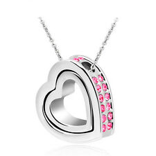 NEW Women Double Heart Rose Crystal Silver Charm Pendant Chain Necklace UB3S3