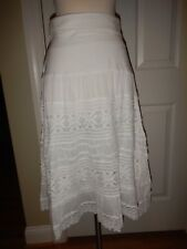 NEW Simply Noelle XXL 16 18 White Lace Lined Fold-Over Waist Peasant Skirt NWT