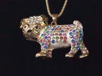 Betsey Johnson Necklace Bull Dog Gold Multi Color Crystals Gift Box Bag LK