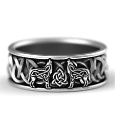 Mens Unisex Ring Wolf Silver Colour Jewellery Band Gothic Punk Gift Celtic