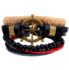 UK Men Ladies Rope Surfer Leather Adjustable Wristband Beaded Bracelet for Guys