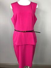 Calvin Klein Womens 14 Pink Sleeveless Peplum Belted Sheath Dress H