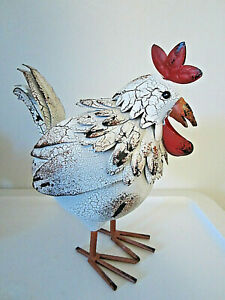 """9"""" tall metal rooster figurine country farm animal decor"""