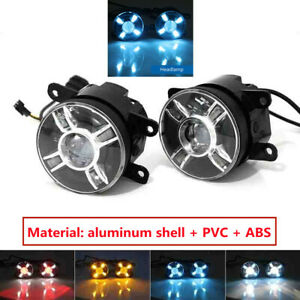 2pcs Car Front LED Projector Lens Round Spot Fog Turn Signal Lamps Waterproof