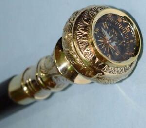 Travelers Compass Gentleman's/Ladies Walking Stick Brass Handle Walking Cane