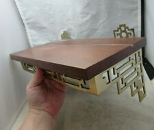 Asian, Oriental design Brass, wood wall shelf