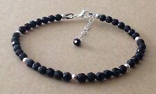 Sfaccettato Nero Onyx Pietre Preziose Perle, Argento Sterling, Con Perline Amicizia Braccialetto