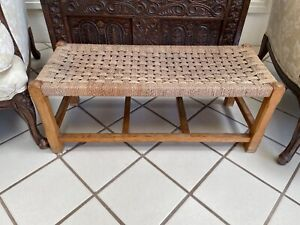 ANTIQUE VINTAGE PINE BENCH SEAT HALL WOVEN TOP