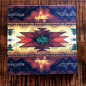 "Drink Coasters 4"", Set of 4, Southwest Aztec, Warm Colors, Black Rubber Back"