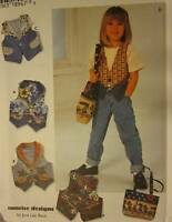 UNCUT Vintage Simplicity SEWING Pattern 7147 CRAFT Girls Vest Bag 3-6 5-8 OOP FF