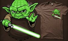 Pocket Jedi Star Wars Empire Strikes Back Yoda Lightsaber New Teefury T-Shirt!