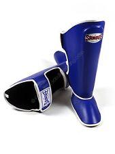 Muay Thai Shin Guards Sandee Blue Leather Kick Boxing Mma Leg Protectors