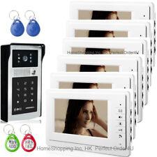 "7"" Lcd Video Door Phone Intercom System 1V6+Rfid And Password Camera+6 Monitors"