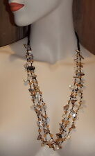 Vintage Jewelry 3 T MOP Shell Topaz Crystal Black Seed Bead Long Necklace 7d51