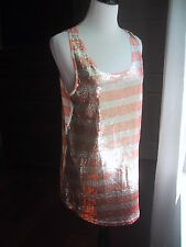 Anthropologie Silence + Noise Tank Top Dress Sequins Striped Contrast Sz Medium