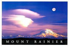 Mount Rainier Washington Postcard Full Moon Snow Capped Mt Clouds New