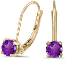 14k Yellow Gold Round Amethyst Lever-back Earrings