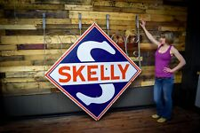 PORCELAIN SKELLY GASOLINE GAS STATION SIGN 2 sided with FANCY Bracket WOW Rare