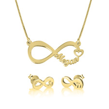 Infinity Name Necklace Earrings Set Personalised Pendant Jewelry Gold Silver Top