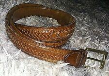 JOHNSTON & MURPHY Brown MENS ANILINE KIPSKIN SHOULDERS BELT Italy USA Leather 36