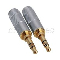 2pcs 3.5mm 3 Pole Stereo Male Jack Plug Audio Connector Headphone Solder Copper