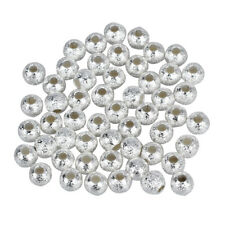 Newest and Unused Clear 50Pcs 4mm Silver Plated Stardust Sparkle Round Bead P4Q8