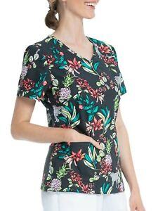 Women's Jungle Scrub Top  M L NEW V Neck