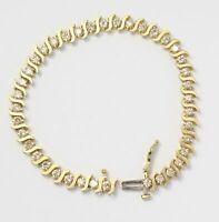 "7.00 Ct Round VVS1 S-Link Diamond Tennis Bracelet 14k Yellow Gold Over 7.25"""