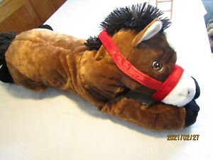 Horse Pony Pillow stuffed animal Brown & White 30 Inch Large Plush/ Dan Dee  B6