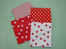 Patchwork Fat Quarter Bundle - Love is in the Air - Red & White