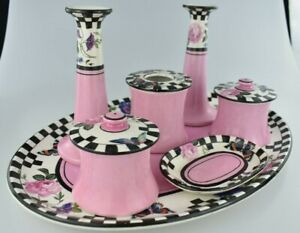 Vintage 1930s Japanese Noritake Style Pink and Checked Dressing Table Set