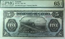 Dominion of Canada 1912 $5 Train Note, PMG Gem Unc-65 EPQ!