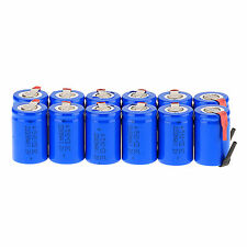 12Pcs Blue NiCd 4/5 SubC Sub C 1.2V 2200mAh Rechargeable Battery with Tab New