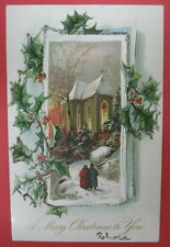 ANTIQUE TUCK'S A MERRY CHRISTMAS TO YOU POSTCARD-HOLLY POST CARDS-CHURCH-GLITTER