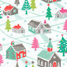 Christmas Winter Village Dashwood Studio Christmas Trees Cotton FQ 1/2m Metre