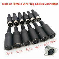 Male or Female DIN Plug Socket Connector - 3 4 5 6 7 8 PIN
