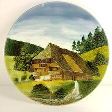 Hand Painted G S Zell German Schwarzwald Baden Decorative Wall Plate Farm