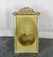 Antique French Nap III Bronze&Beveled Glass Photo Frame Louis XVI Ribbon
