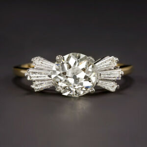 2 CARAT OLD EUROPEAN CUT DIAMOND ENGAGEMENT RING YELLOW GOLD BAGUETTE VINTAGE