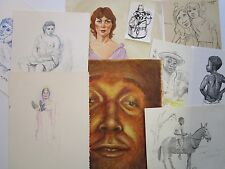 FRANK GUTIERREZ  LOT OF 10 DRAWINGS PAINTINGS PORTRAITS MODERNISM ABSTRACT VNTG