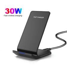 30 Вт Qi беспроводной зарядное устройство док-станция подставка быстрая зарядка для iPhone 12 Pro X Samsung S21