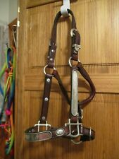 yearling 5 way adjust Quality Brown Leather Western ALPACA SILVER Show Halter
