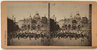Italia Venezia Place Chiamato Fotografia C.P.Stereo Vintage Albumina c1860