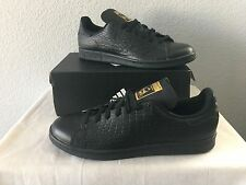 New Adidas Stan Smith BLACK LEATHER GOLD CROCS Mens Casual Shoes AQ2726 Size 12