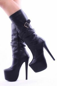 Womens Mid-calf Boots Super High Heel Booties Buckle Platform Shoes Side Zipper
