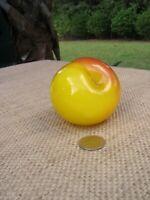 Hand Blown 1997 Artist Signed Art Glass Peach Fruit Paperweight