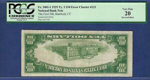 "CT 1929 $10  HARTFORD,CT  ""ERROR"" ♚♚INVERTED BACK♚♚ PCGS VF 20  VERY RARE!!!"