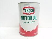 Vintage Texaco Motor Oil Can 1 Quart FULL Automobilia Advertising SAE 2020WHD