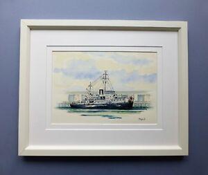"Original Framed Watercolour Line and Wash the Corvette ""HMAS Cairns""."