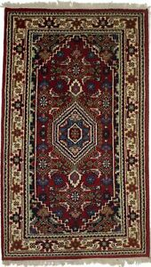 Red Floral Tribal Style Handmade Small 3X5 Indo-Bidjar Oriental Rug Decor Carpet